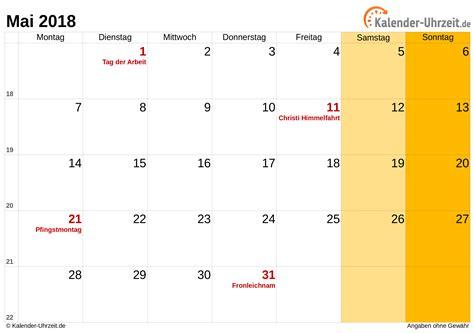 Mai 2018 Kalender Mai 2018 Kalender Mit Feiertagen