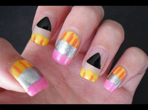 super easy nail art youtube back to school nail art diy at home super cute and easy