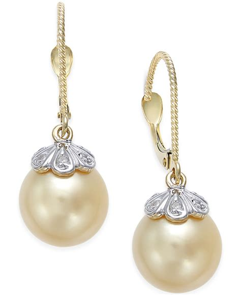 accent earrings macy s cultured golden south sea pearl 10mm and