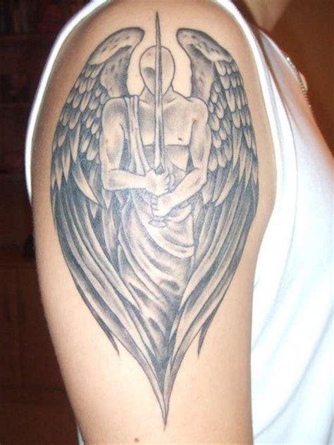 One Eyed Angel Tattoo On Shoulder Guardian Tattoos For On Shoulder