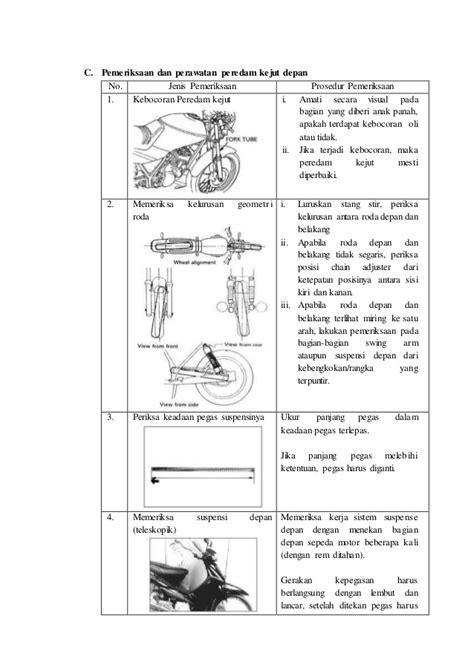 Cara Pemeriksaan Penyetelan Dan Perawatan Sepeda Motor Boentarto modul perawatan suspensi sepeda motor