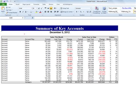 Summary Of Key Accounts Template For Excel Account Management Tools And Templates