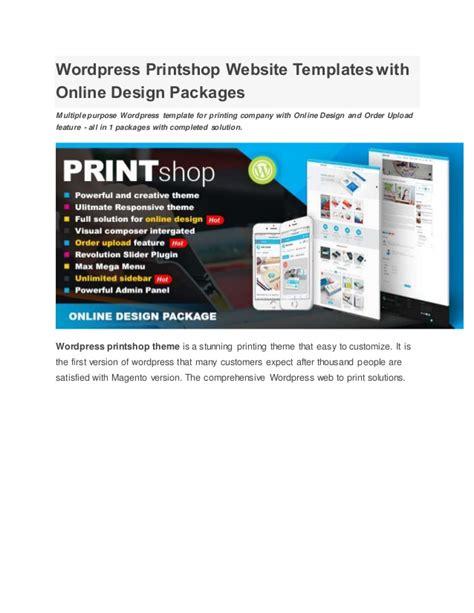 Wordpress Printshop Website Templates With Online Design Packages Printing Company Website Template
