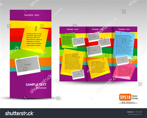 brochure design with trifold colorful template brochure vector trifold layout design template stock