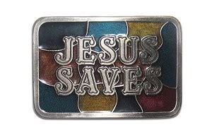 Quot Jesus Saves Quot Heavy Cast Epoxy Inlay Buckle Eb2227