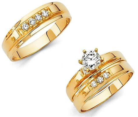 14k solid yellow italian gold wedding band bridal solitaire engagement ring set ebay