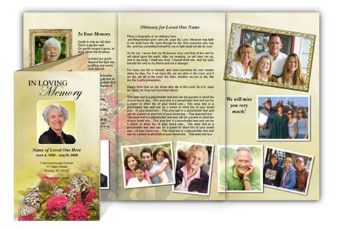 funeral brochure templates free tri fold obituary template images