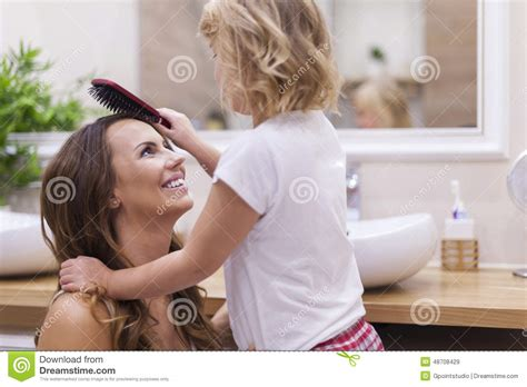 bathroom mother mother and daughter in bathroom stock image image 48708429