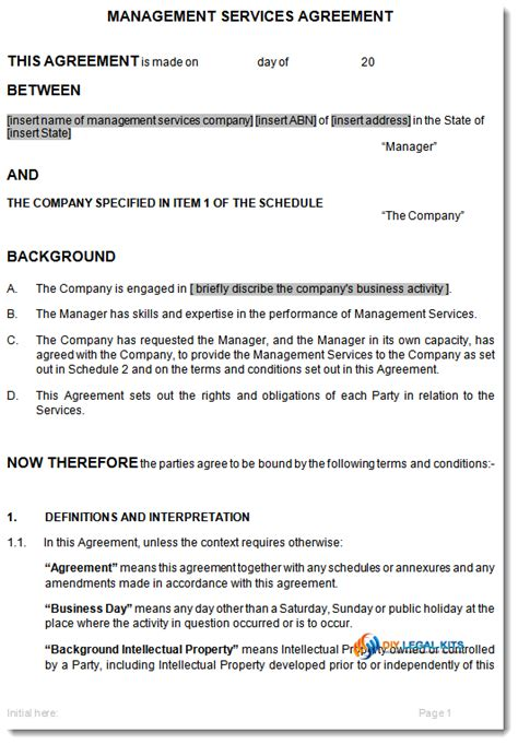 managed service contract template management services agreement