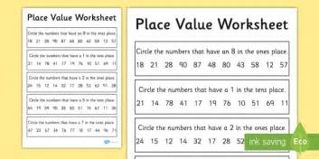 place value worksheet activity sheet 2 digits place value