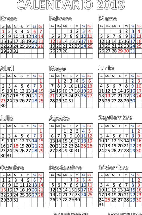 Calendario 2018 Uruguay Calendario De Uruguay 2018 Imprimir El Pdf Gratis