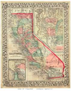 vintage map of california maps of california state maps