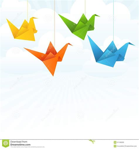 Origami Flying Birds - origami paper birds flight abstract background stock