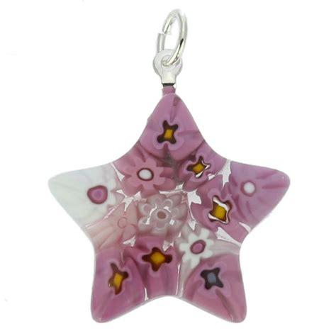 pink star necklace murano pendants murano glass millefiori star pendant pink