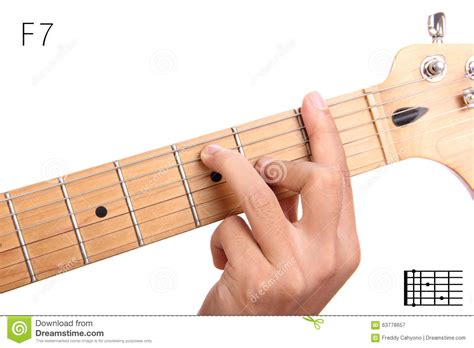 tutorial guitar up f dominant seventh guitar chord tutorial stock photo