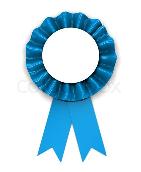 3d illustration of blue ribbon award over white background