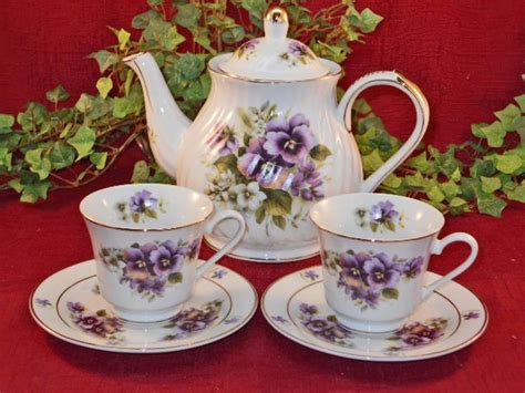 pansy flowers porcelain tea for two teapot with 2 cups
