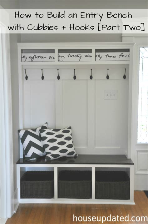 how to build an entry bench with cubbies and hooks part
