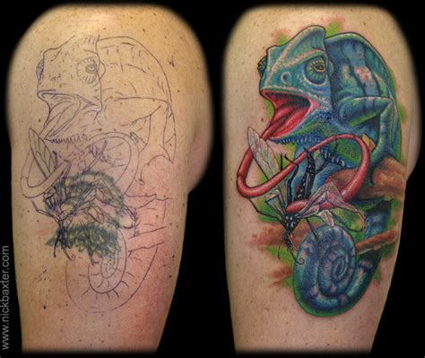 animal cover up tattoo nick baxter tattoos custom chameleon cover up