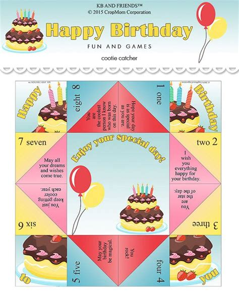 Template For Fortune Teller Card by Birthday Cootie Catcher Printable Cootie Catcher