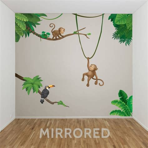 jungle monkey childrens wall sticker set nursery