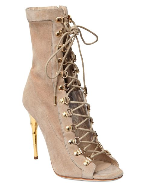 tie up boots balmain 110mm suede lace up boots in lyst