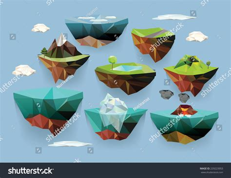3d illustration his car floating vector low poly islands set your stock vector 229223953