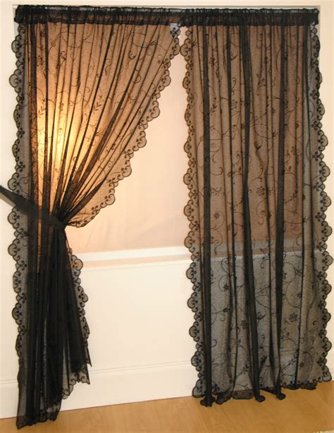 black lace curtains vintage daisy slot top vintage lace window panel net curtain