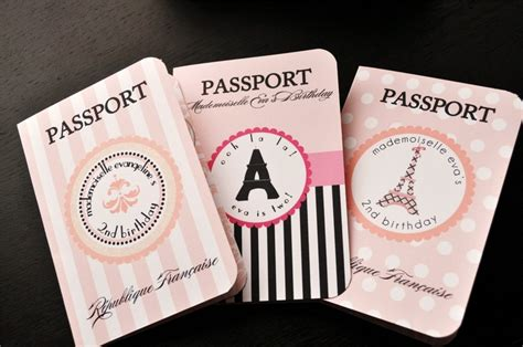 themed passport invitations for birthday