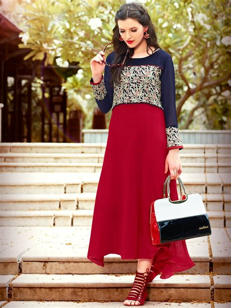 Home Decor Online Shopping In India by Artie Red Readymade Georgette Kurti Kajree 3712 Cilory Com