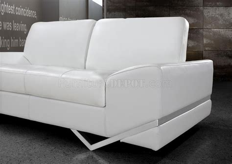 modern leather loveseats vanity sofa 3pc set in white leather 0744 by vig