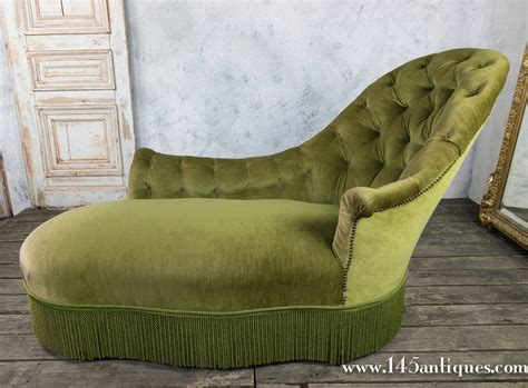 chaise lounge green tufted asymmetrical green chaise lounge at 1stdibs
