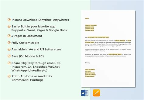 Acknowledgement Of Application Job Position Filled Template In Word Google Docs Apple Pages Position Filled Email Template