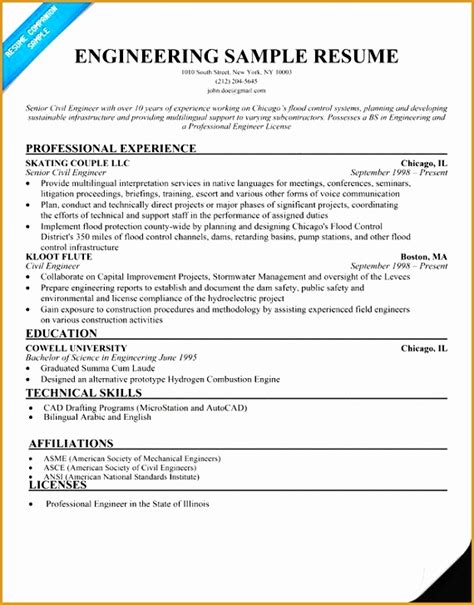 civil engineer resume format doc free 5 resume sle for civil engineer technician free sles exles format resume