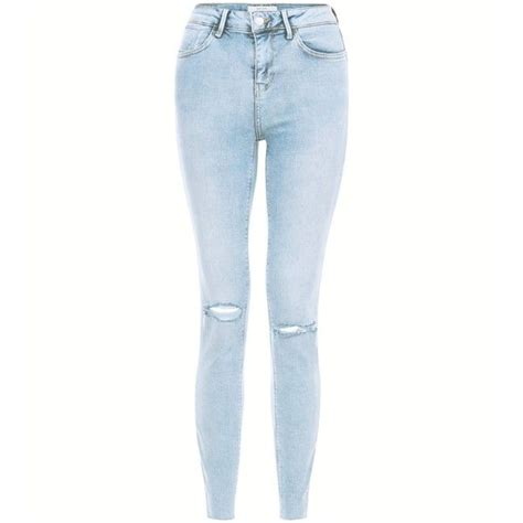 ripped skinny jeans polyvore new look light blue acid wash ripped knee skinny jeans 44