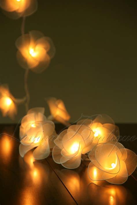 20 Cream Nylon Rose Flower Led String Fairy Lights Floral String Lights