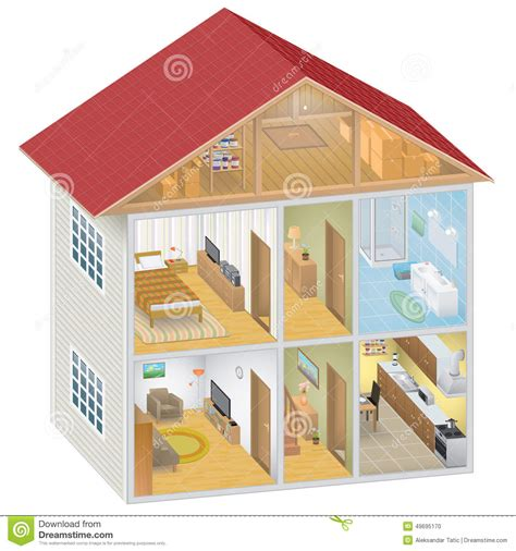 isometric house interior stock vector image 49695170