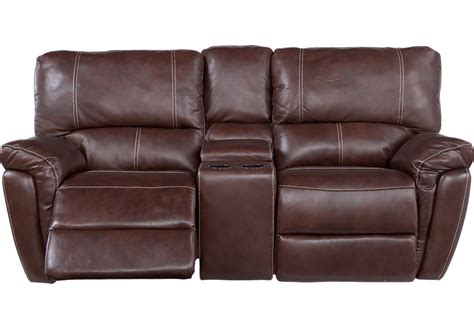 Console Reclining Loveseat by Browning Bluff Brown Leather Reclining Console Loveseat