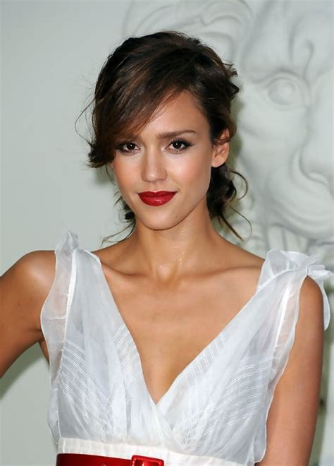 swing bangs jessica alba messy twisted updo with side swing bangs