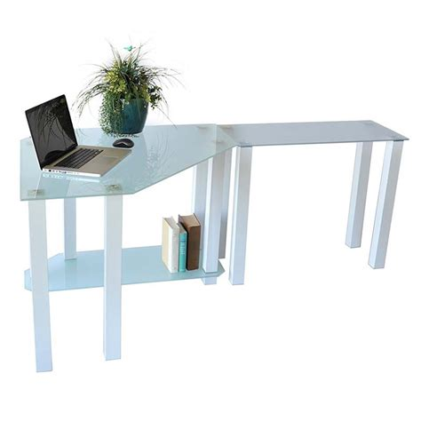 Rta Frosted Glass Corner Computer Desk With Right Side Corner Desk Extension