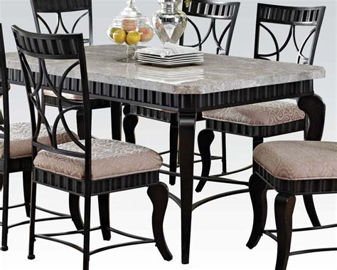 white marble top dining table set acme dining set w white marble top table lorencia ac70294set