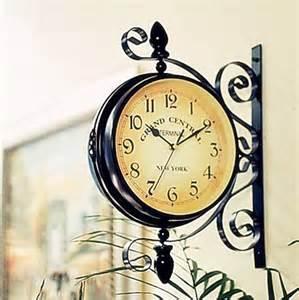 british retro rotatable double sided wall clock