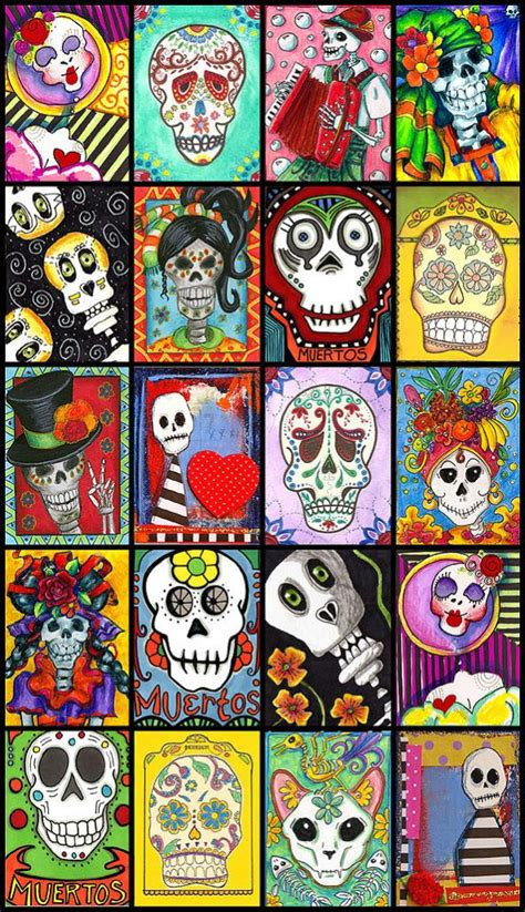 dia de los muertos crafts for illustratedatcs artist trading cards atcs and mail