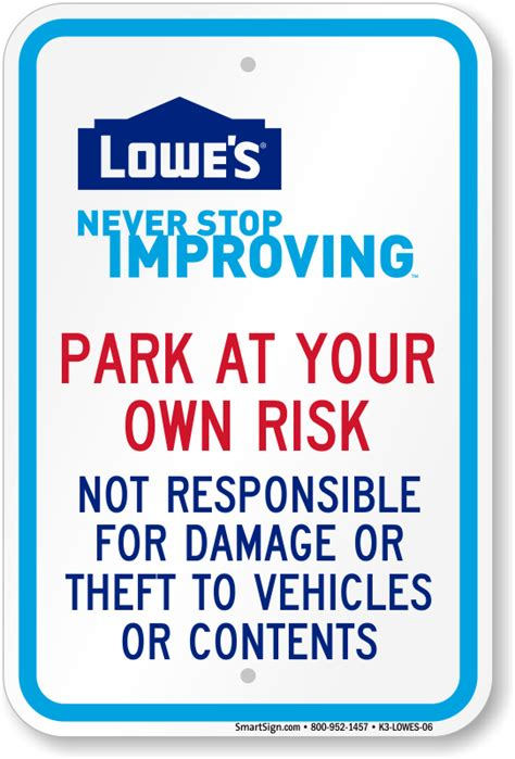 lowe s home improvement parking signs
