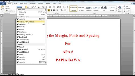 apa format font style apa 6 setting margins fonts spacing youtube