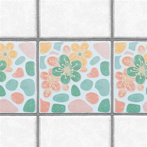 stickers for tiles bathroom decorative tiles stickers flower design pack of 16 tiles