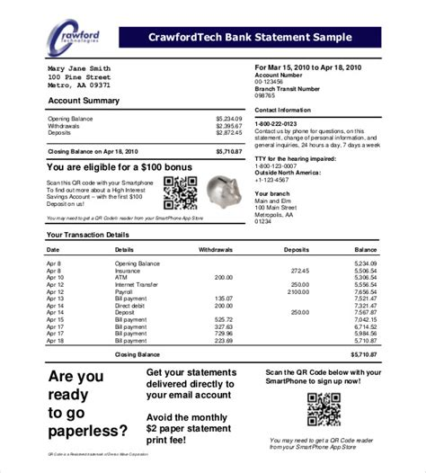 bank statement template statement template 17 free word excel pdf indesign