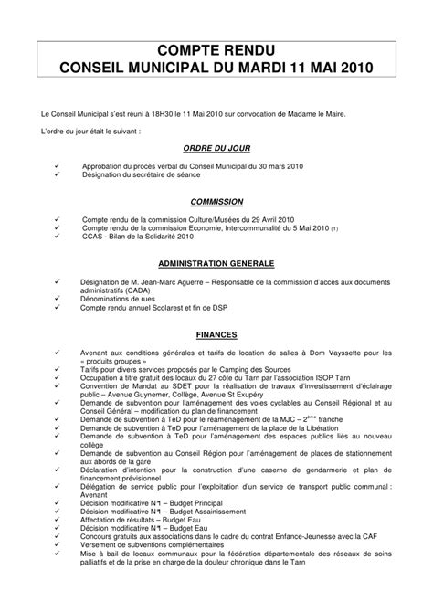 Modèles De Lettre De Compte Rendu Compte Rendu Conseil Municipal De Gaillac Du 11 Mai 2010