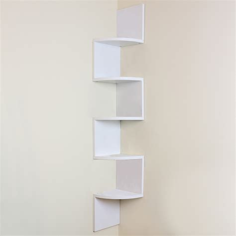 5 tier white wall mounted zigzag corner floating shelf