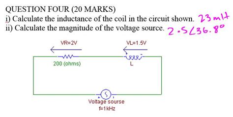 calculating inductor voltage i calculate the inductance of the coil in the cir chegg